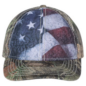 Camo with Flag Sublimated Front Panels Cap