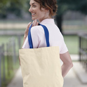 10 Ounce Gusseted Cotton Canvas Tote with Colored Handle